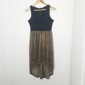2/15$🔥Twik Black and Metallic Dress Gold High-Low